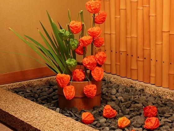廊下途中の【光の庭】には、四季折々の草花を活けております