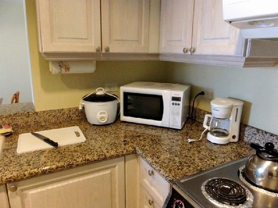 コンドミニアムの調理器具。電子レンジもあり離乳食の温めも可