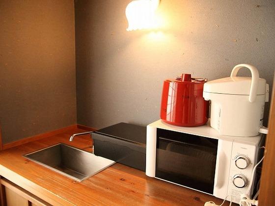 認定のお部屋は電子レンジとミニキッチン付きです