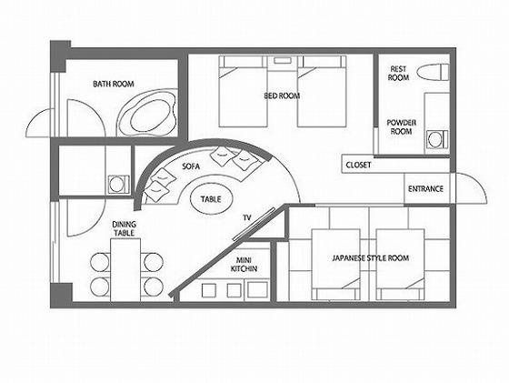 スイートルームのシロフクロウは、50平米の広々としたお部屋です。