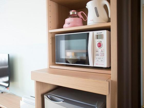 お部屋に電子レンジ・大きめの冷蔵庫が設置されています。
