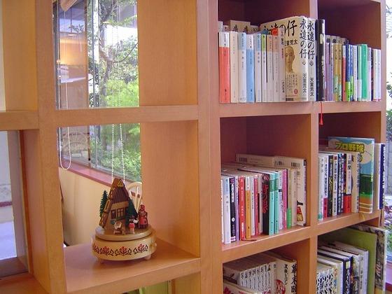 ロビーの本棚には小説や漫画がおいてあります。