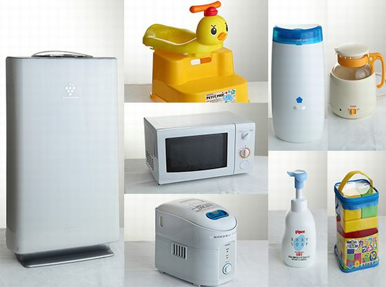 各認定ルームのお部屋には、加湿機能付空気清浄機をはじめ、電子レンジやおむつポットなどをご用意しております。