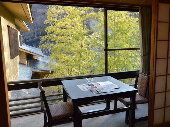 中庭を望めるお部屋です。四季折々の風景が楽しめます。