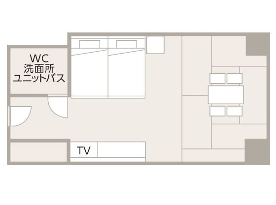 36平米のツインルームに4畳半のたたみのエリアを設けております。