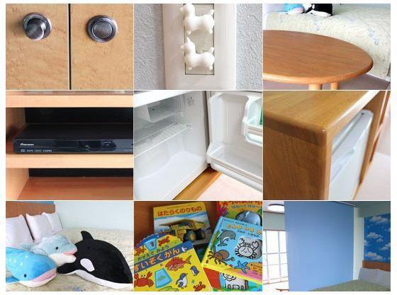 お部屋には、DVDプレイヤーや絵本、おもちゃ、ぬいぐるみ、お絵かきボードなど、お子様が楽しく遊べるグッズをご用意!