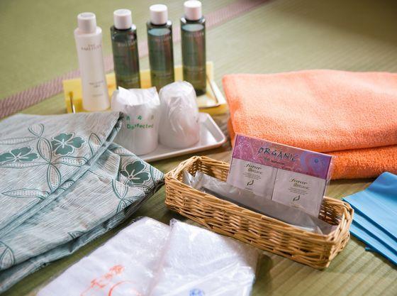タオル・バスタオル・アメニティ各種・浴衣など取り揃えております