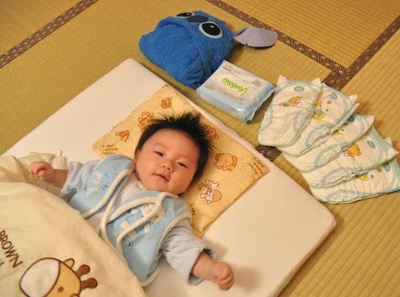 赤ちゃん連れのお部屋には予めベビー布団を敷いてご用意しております。