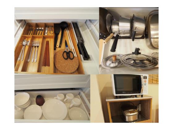 調理器具・炊飯器・電子レンジ・食器類、ほか子供用食器もご用意
