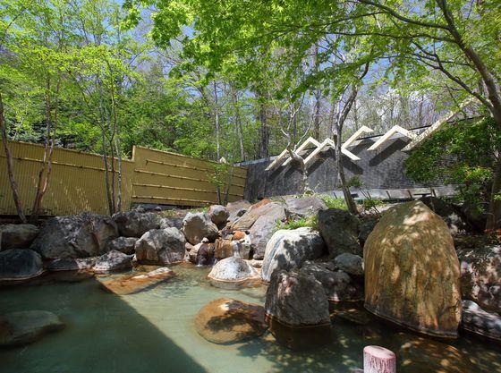 木々に囲まれた温泉露天風呂で自然を見ながらリラックス