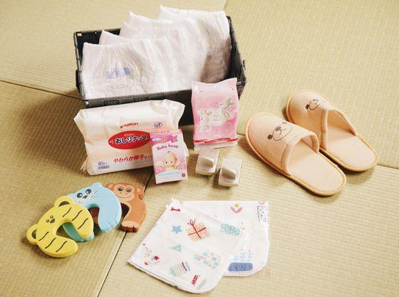 おむつ、お尻拭き、赤ちゃん用の石鹸などをご用意!