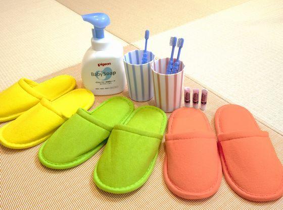 お子さま用のスリッパ・パジャマ・歯ブラシを常備。