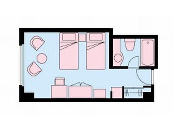 120cm幅のセミダブルベッドが2つあり、広々お使いいただけます