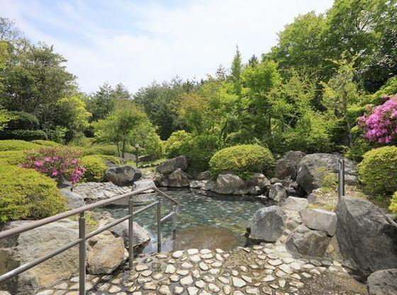 那須高原の自然に包まれた露天風呂。