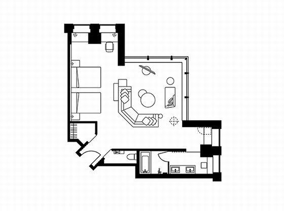 ユニバーサルコーナーツインルーム 平面図