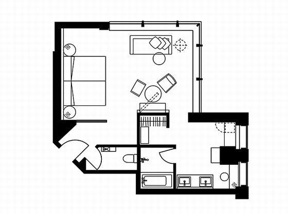 デラックスコーナーツインルーム 平面図