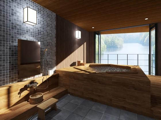 2020年1月オープンの湖畔が見える貸切半露天風呂 亀楽【KIRA】のゆ