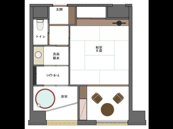 露天風呂付客室「四季彩」間取り図