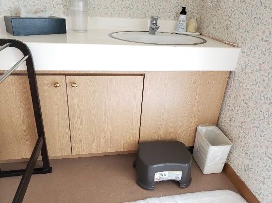 手洗い場には踏み台も