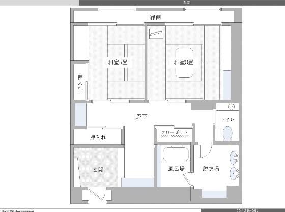 6畳と8畳の二間からなる和室は、75㎡でゆったり。