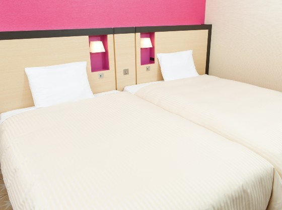 2台ずつベッドをくっ付けてご用意ができます。(要予約)